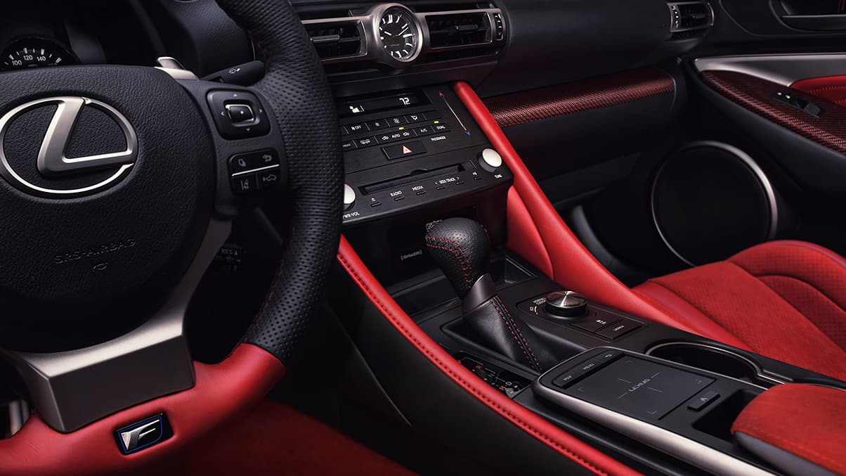 Interior of 2020 RC F Track Edition shown with Circuit Red Alcantara and Red Carbon Fiber trim.