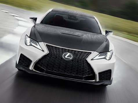 2020 RC F Track Edition shown in Ultra White with a black carbon fiber hood.