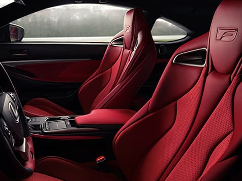 Interior of the 2020 RC F Track Edition shown with Circuit Red Alcantara and Red Carbon Fiber trim.