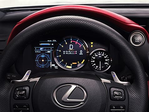 Launch Control gauge display behind the steering wheel of the 2020 RC F Track Edition.