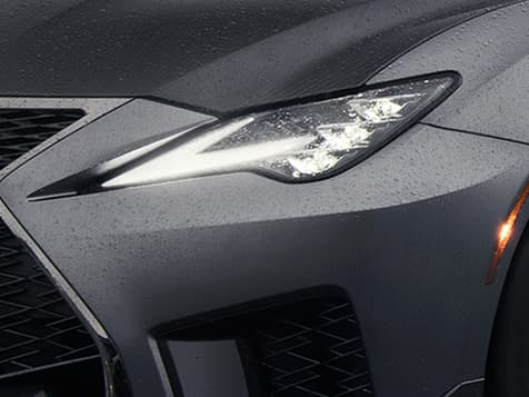 Available Premium Triple-Beam LED headlamps featured on the 2020 RC F Track Edition shown in Matte Nebula Gray.