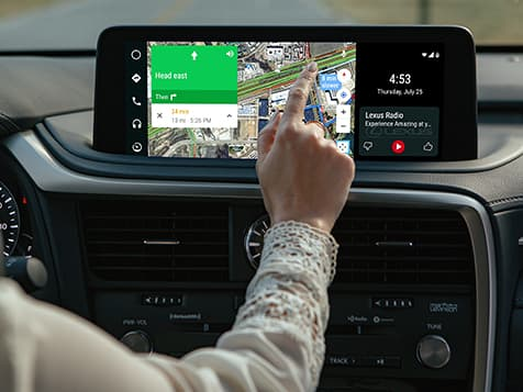Interior of the Lexus RX showing Android Auto on the available 12.3-inch touchscreen multimedia display.