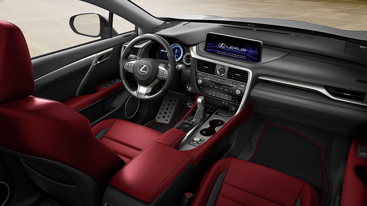 Interior of the Lexus RX F SPORT shown in Circuit Red NuLuxe® with Scored Aluminum trim.