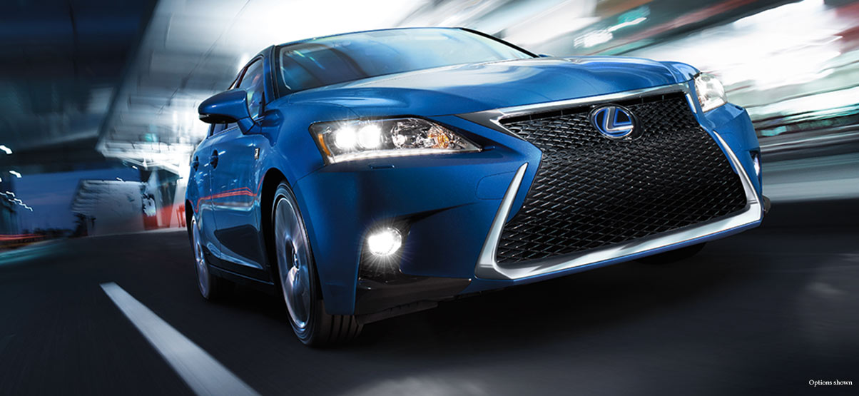 Exterior shot of the 2017 Lexus CT F SPORT shown in Blue Vortex Metallic.