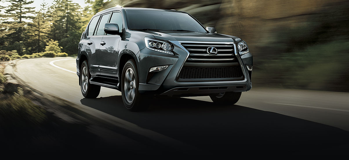 Exterior shot of the 2017 Lexus GX 460 shown in Nebula Gray Pearl.