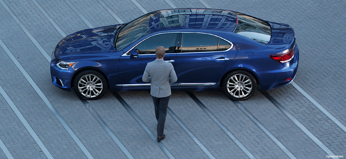 Exterior shot of the 2017 Lexus LS Select shown in Nightfall Mica