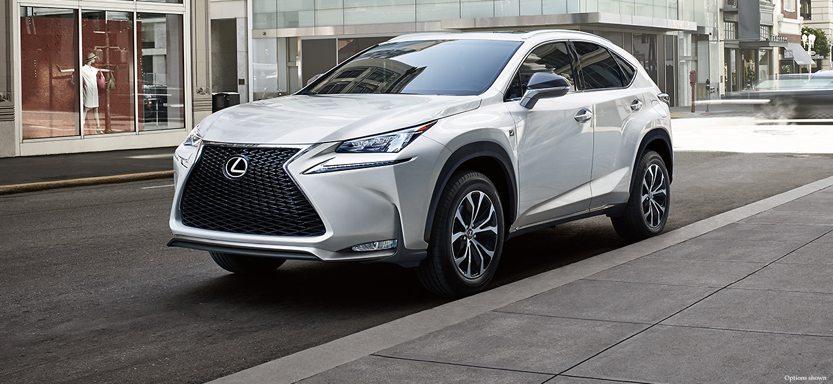 Exterior shot of the 2017 Lexus NX F Sport shown in Eminent White Pearl