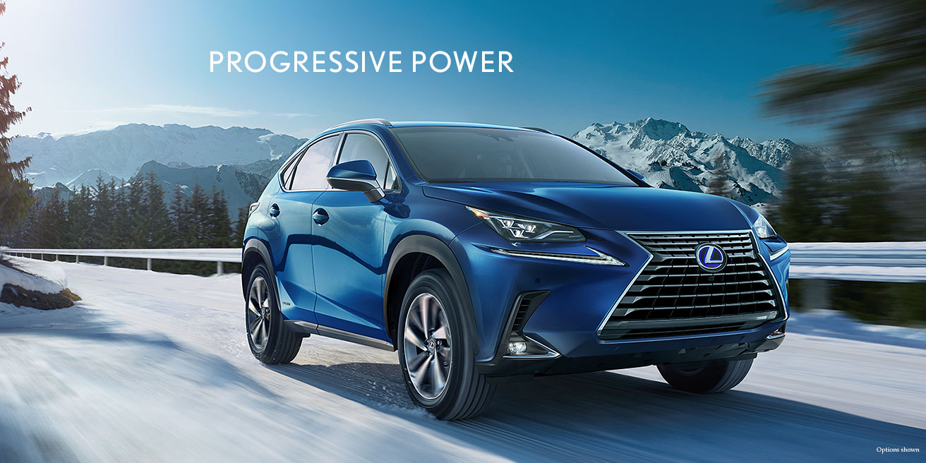 Exterior shot of the 2018 Lexus NX Hybrid shown in Blue Vortex Metallic