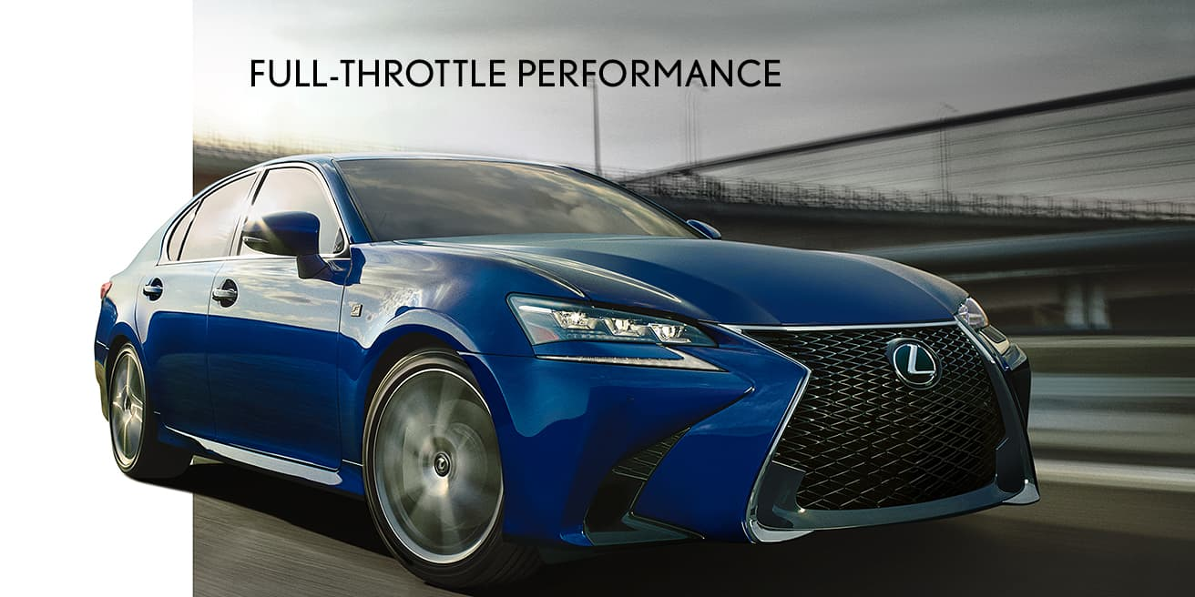 Exterior shot of the 2019 Lexus GS F SPORT shown in Ultrasonic Blue Mica 2.0.