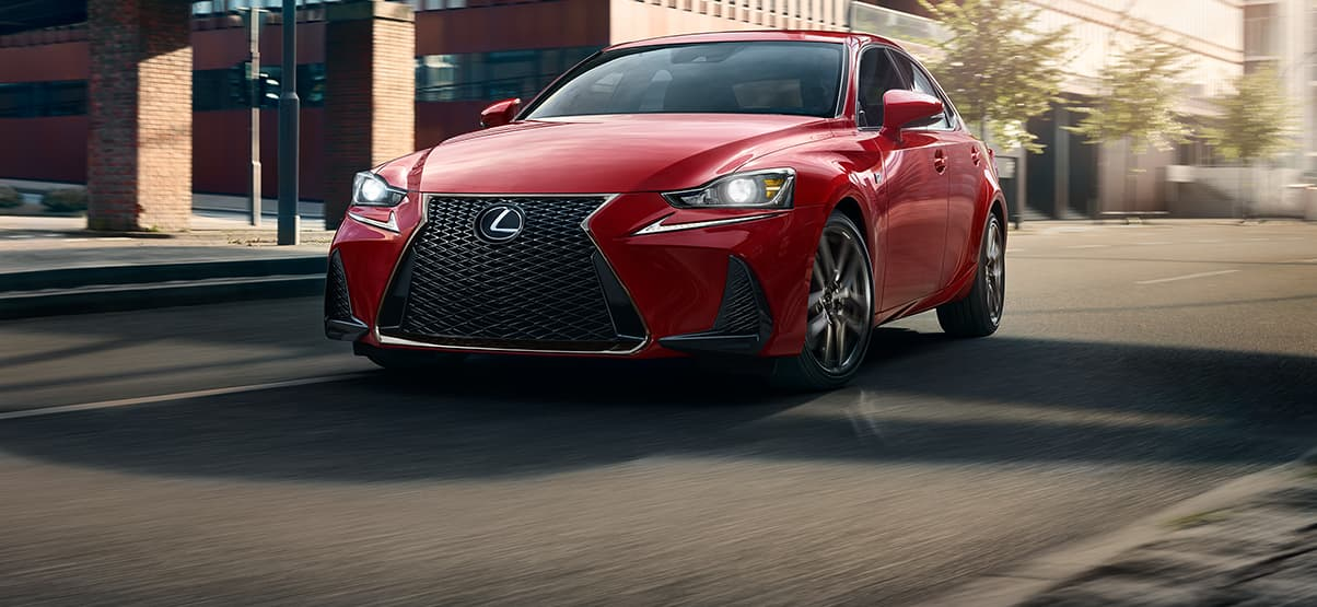 Exterior shot of the 2019 IS 350 F Sport shown in Redline.