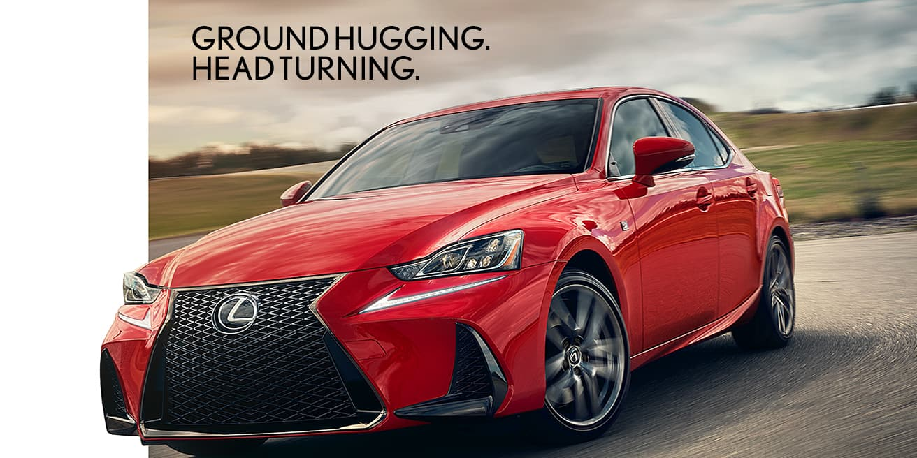 Exterior shot of the 2019 Lexus IS F Sport shown in Redline.