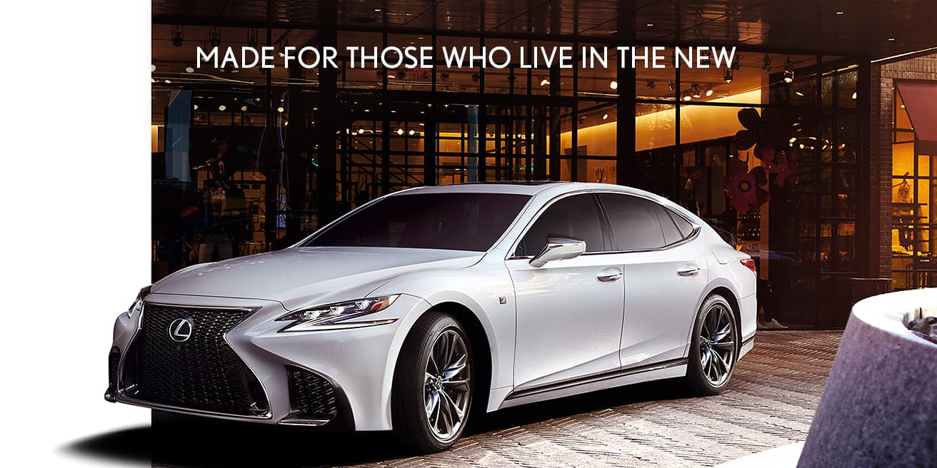 Exterior shot of the 2019 Lexus LS F SPORT shown in Ultra White.