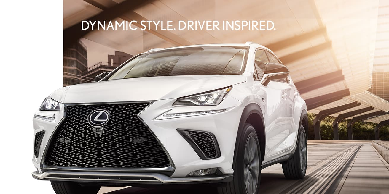 Exterior shot of the 2019 Lexus NX shown in Ultra White