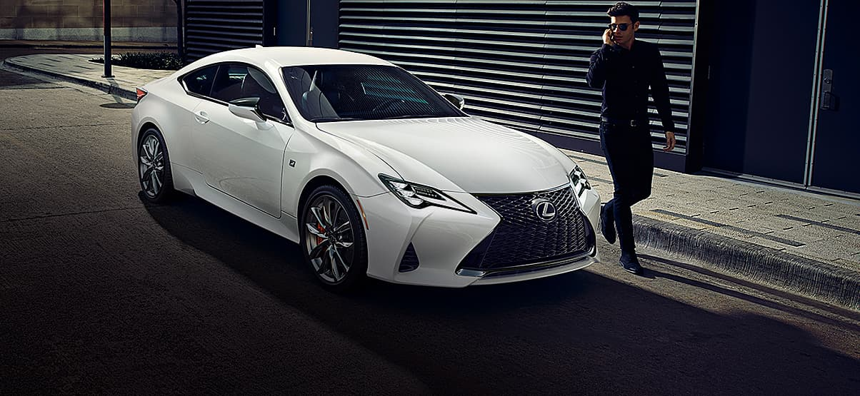 Lexus RC F SPORT shown in Ultra White.