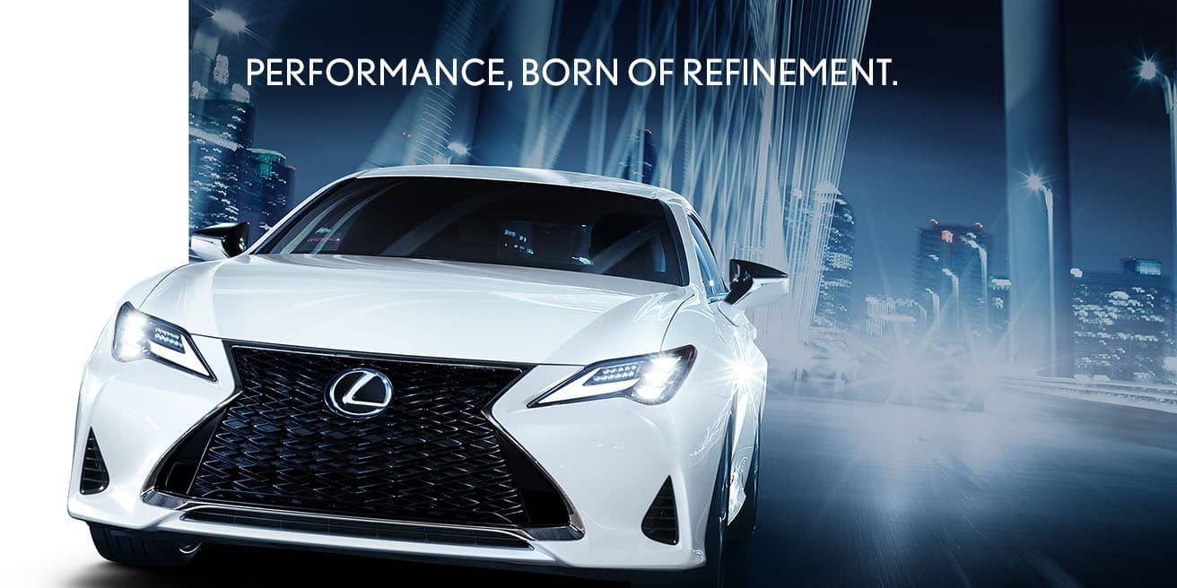 Exterior shot of the 2019 Lexus RC F SPORT shown in Ultra White.