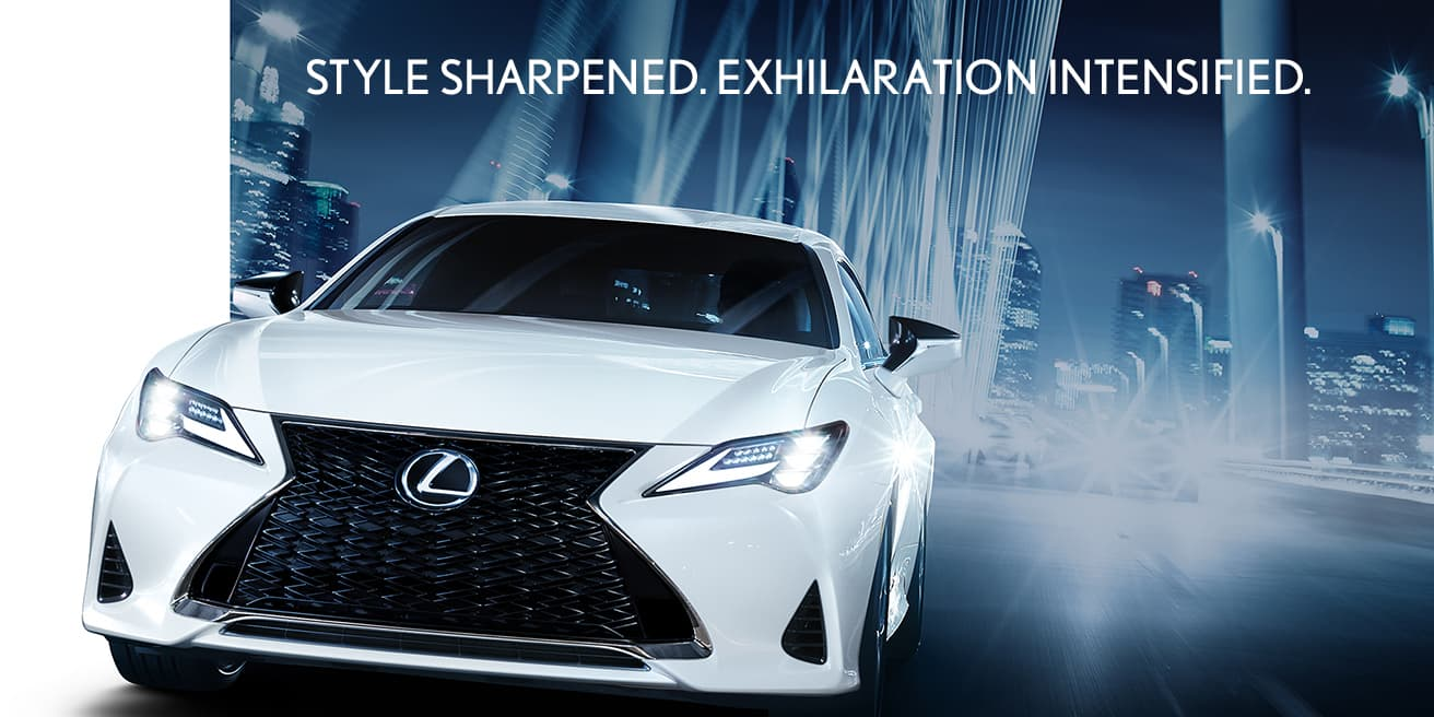 Exterior shot of the 2019 Lexus RC shown in Ultra White