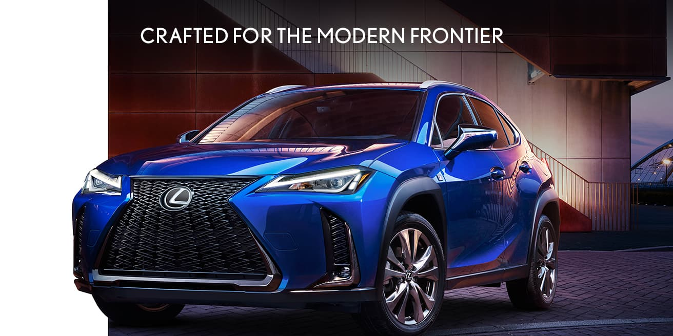 Exterior shot of the 2019 Lexus UX F SPORT shown in Ultrasonic Blue Mica 2.0.