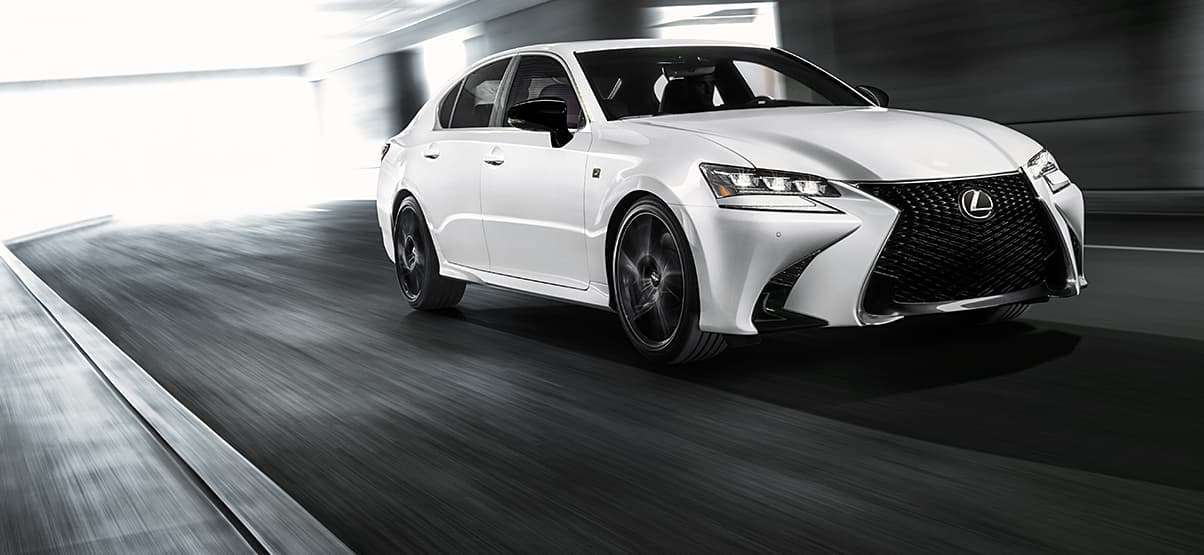 The Lexus GS 350 F SPORT BLACK LINE SPECIAL EDITION shown in Ultra White.
