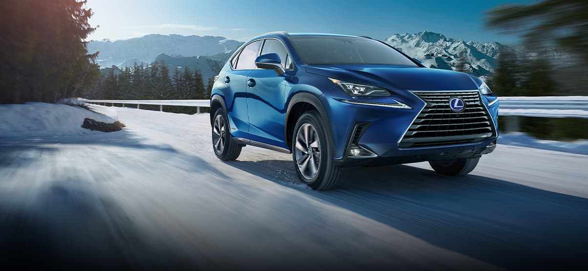 Lexus NX 300h Luxury shown in Blue Vortex Metallic.