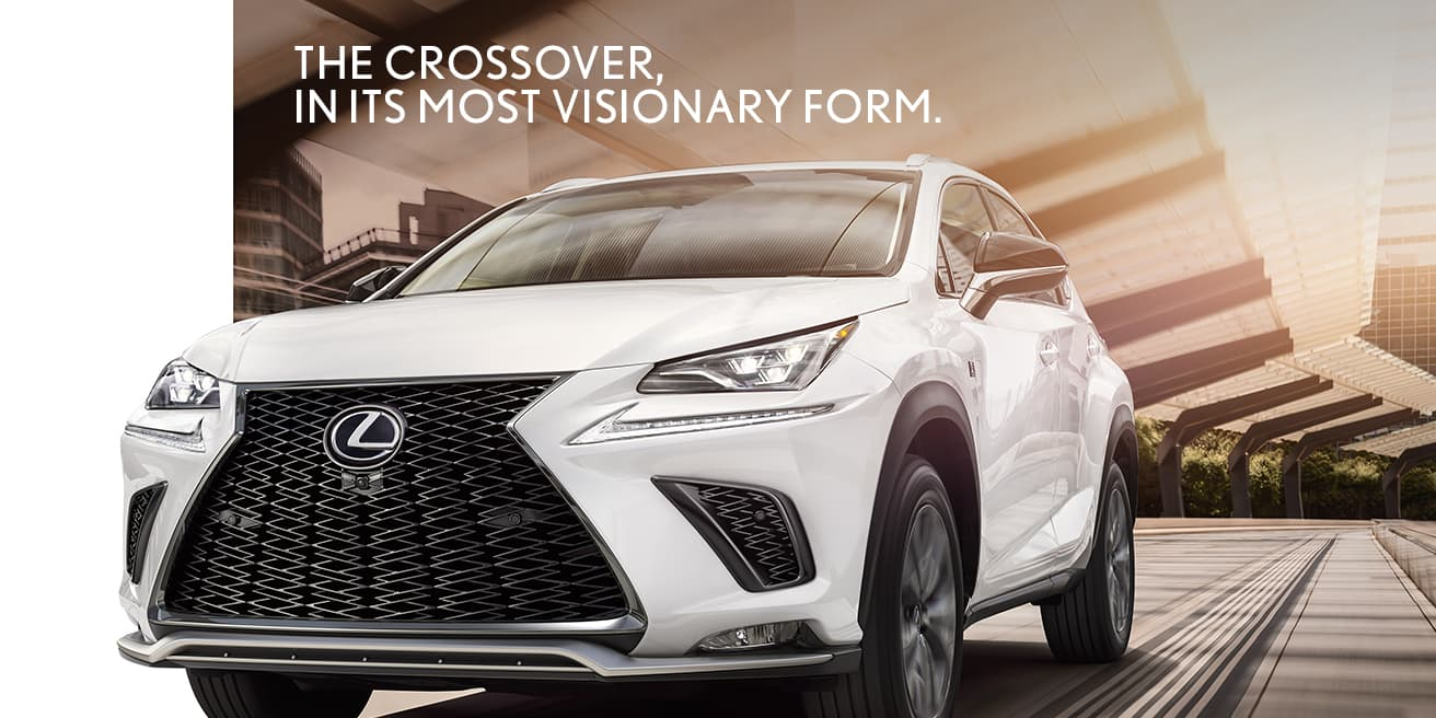 Exterior shot of the 2020 Lexus NX F SPORT shown in Ultra White.