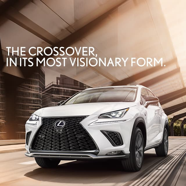 Lexus NX F SPORT shown in Ultra White with illuminated Premium Triple-Beam Headlamps.