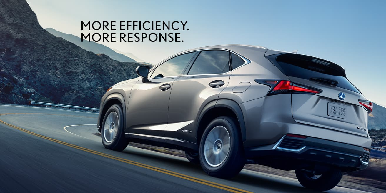 Exterior shot of the 2020 Lexus NX Hybrid shown in Atomic Silver.