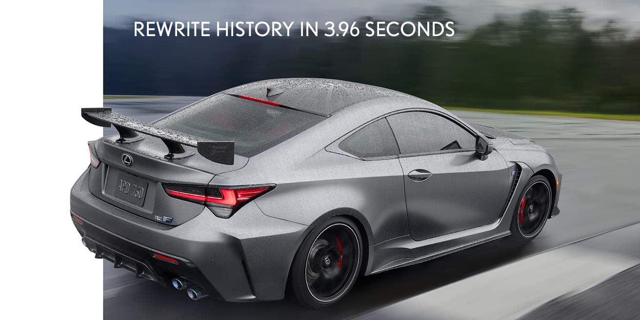 Exterior shot of the 2020 Lexus RC F Track Edition shown in available Matte Nebula Gray.