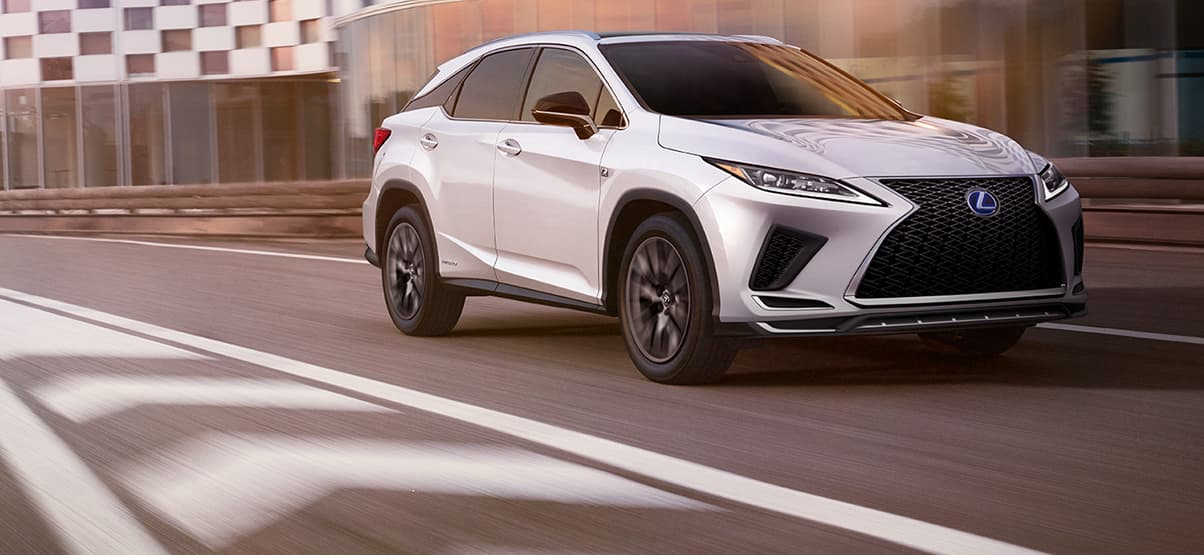 Lexus RX Hybrid F SPORT shown in Ultra White.