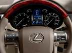 Interior shot of the 2019 Lexus GX steering wheel.