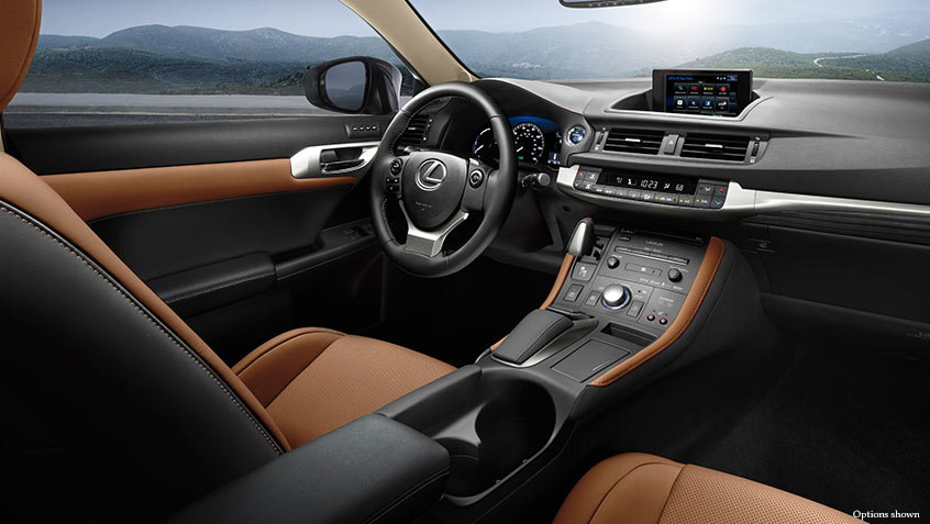Interior shot of the 2017 Lexus CT shown with Flaxen leather trim.