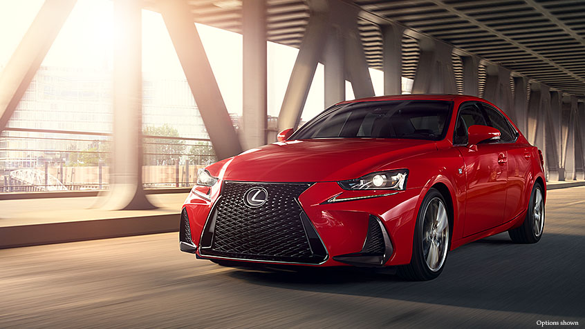 Exterior shot of the 2017 Lexus IS F Sport shown in Redline.