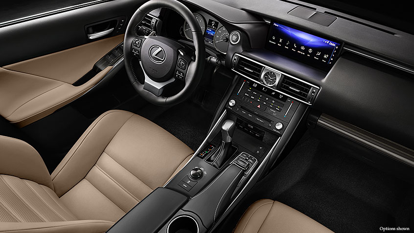 Interior shot of the 2017 Lexus IS shown with Flaxen NuLuxe and Illustrious Piano Black trim.