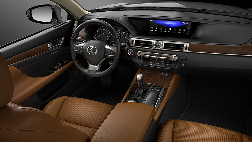 Interior of Lexus GS shown in Flaxen leather with Open-Pore Brown Walnut trim.