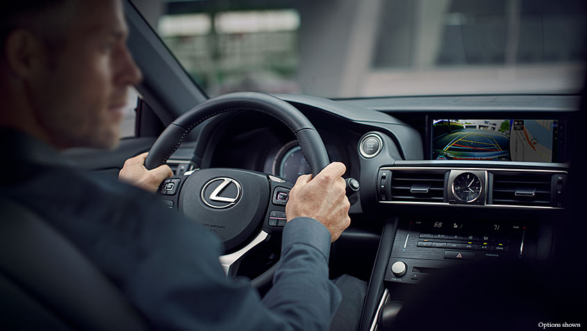 Interior shot of the 2018 Lexus IS shown with Black NuLuxe and Illustrious Piano Black trim.