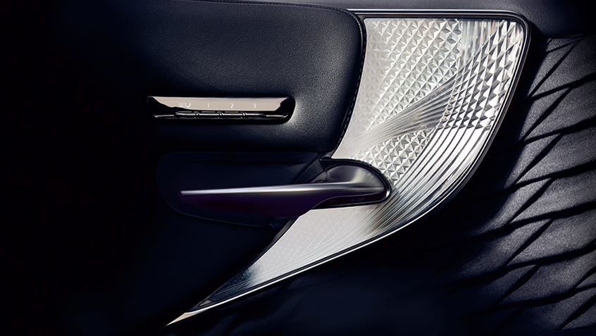 Interior of the Lexus LS shown in Black leather with Kiriko Glass trim.