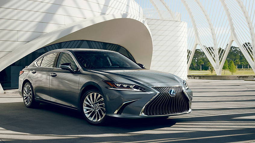 Lexus ES Hybrid shown in Nebula Gray Pearl.