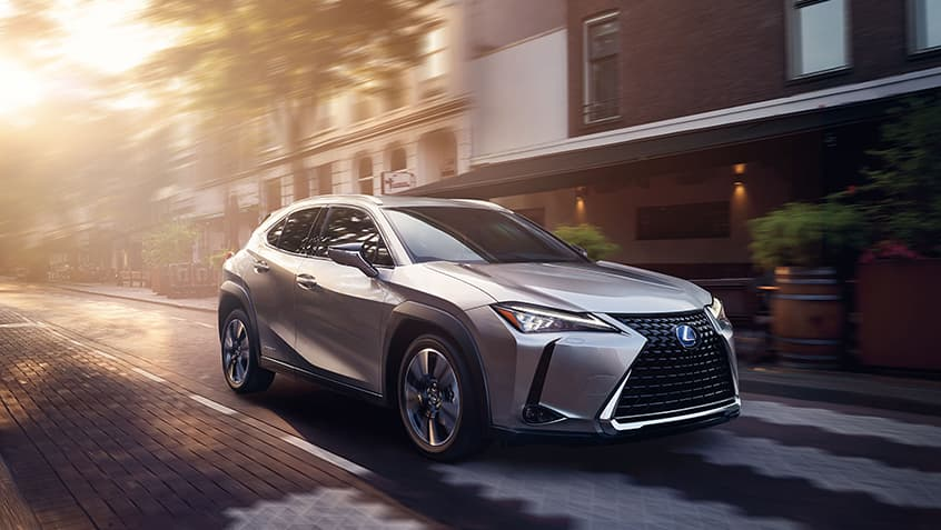 Lexus UX Hybrid shown in Atomic Silver.