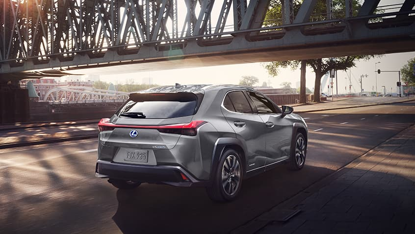 Lexus UX Hybrid shown in Nebula Gray Pearl.