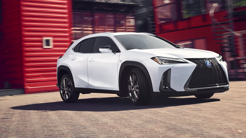 Lexus UX Hybrid F SPORT shown in Ultra White.