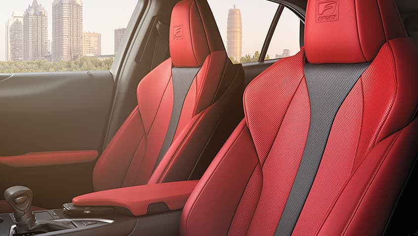 Interior of the Lexus UX F SPORT shown in Circuit Red NuLuxe.