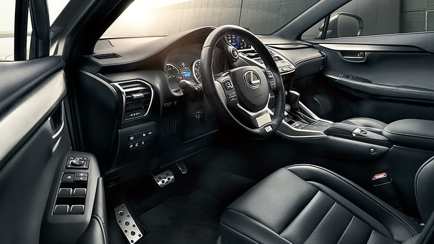 Lexus NX F SPORT interior shown in available Black leather trim.
