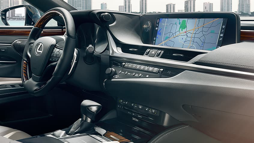 Interior of the Lexus ES showing the 12.3-inch color multimedia display.