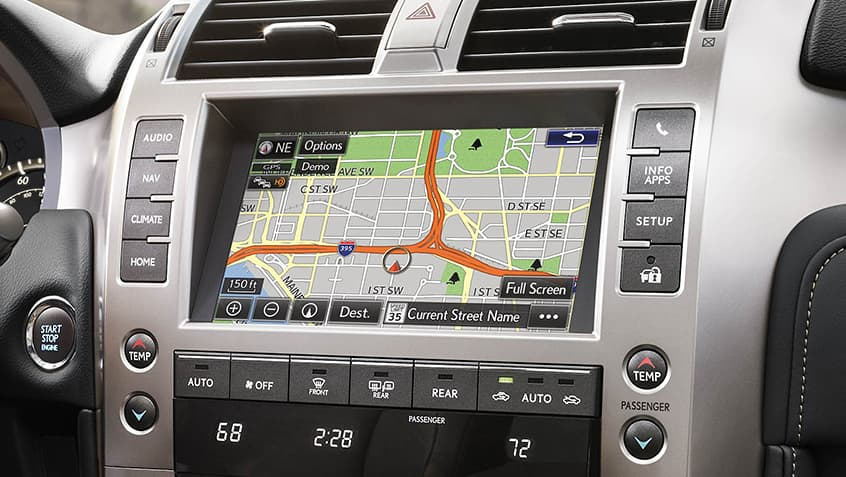 Interior of the Lexus GX showing the navigation screen.