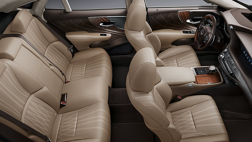 Interior of the Lexus LS shown in Chateau leather with Laser Special trim.