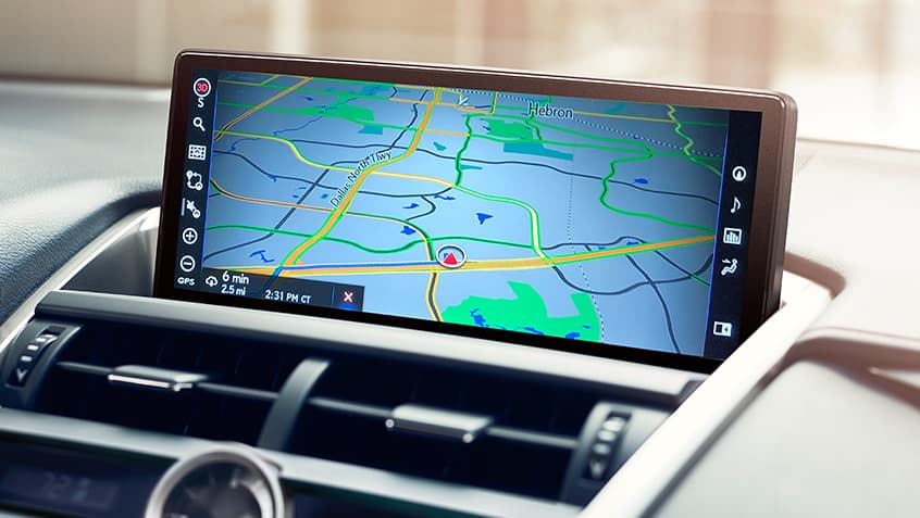 Interior shot of the Lexus NX showing Lexus Enform Dynamic Navigation on the multimedia display.