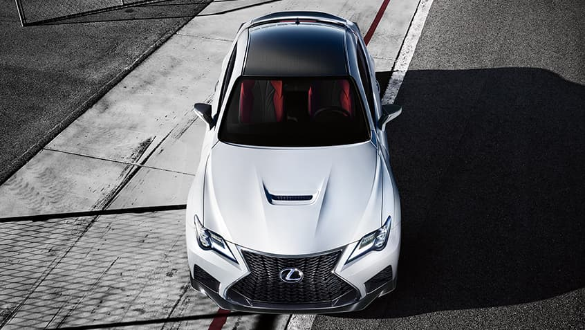 2020 RC F in Ultra White featuring the Performance Package.