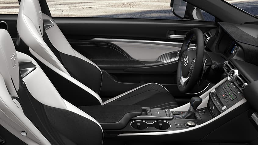 Interior of the 2020 RC F shown in White and Black leather.