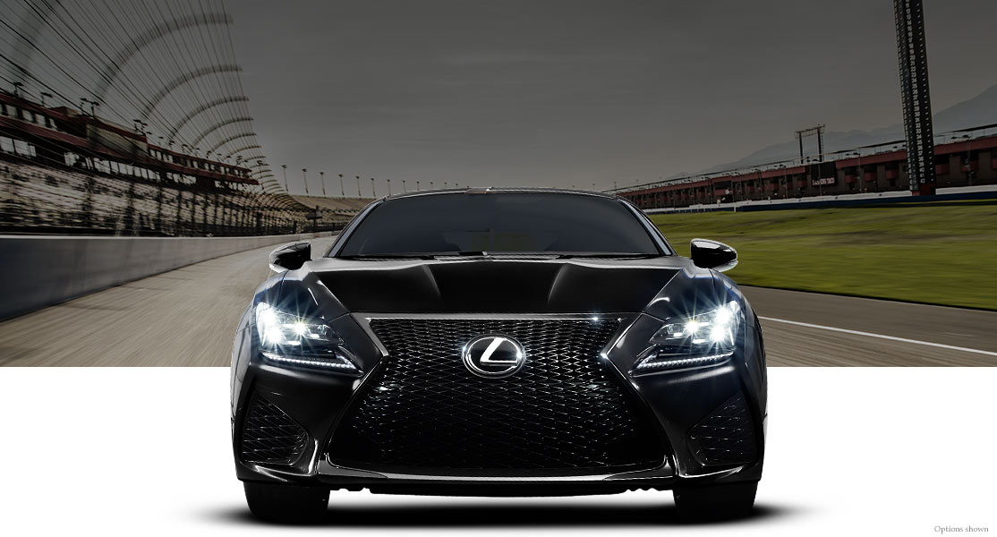 Exterior shot of the 2018 Lexus RC F shown in Obsidian.