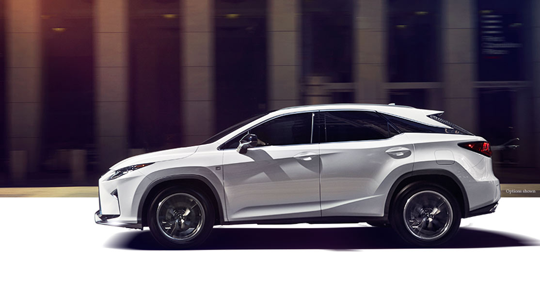 Exterior shot of the 2018 Lexus RX F Sport shown in Ultra White