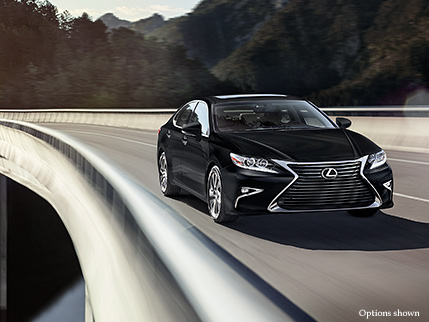 Exterior shot of the 2017 Lexus ES shown in Obsidian.